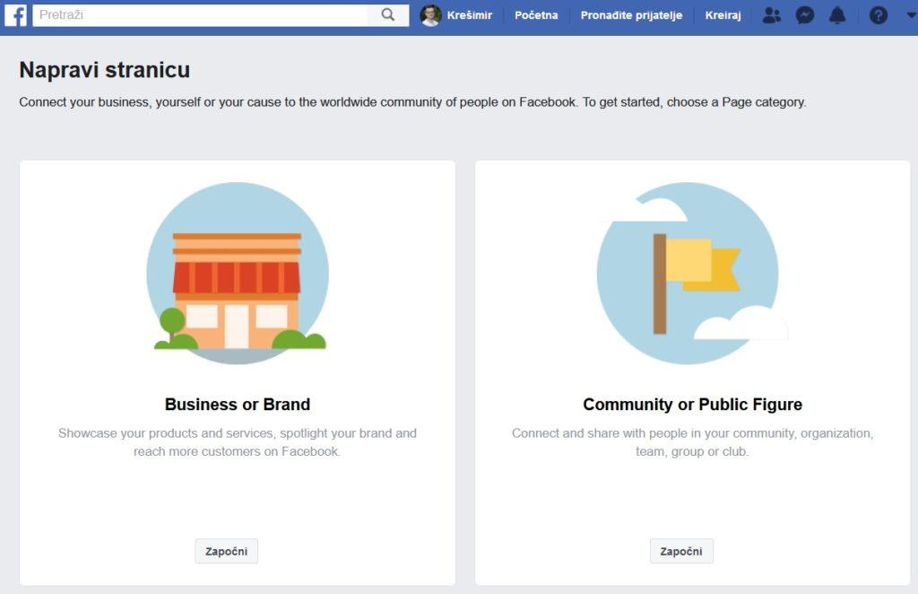 početak izrade facebook stranice
