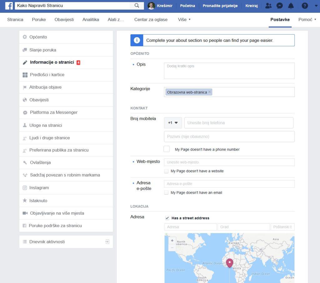 odešavanje Facebook stranice