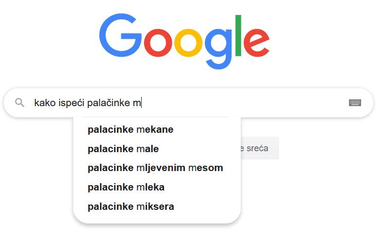 kako ispeci palacinke primjer google pretrage