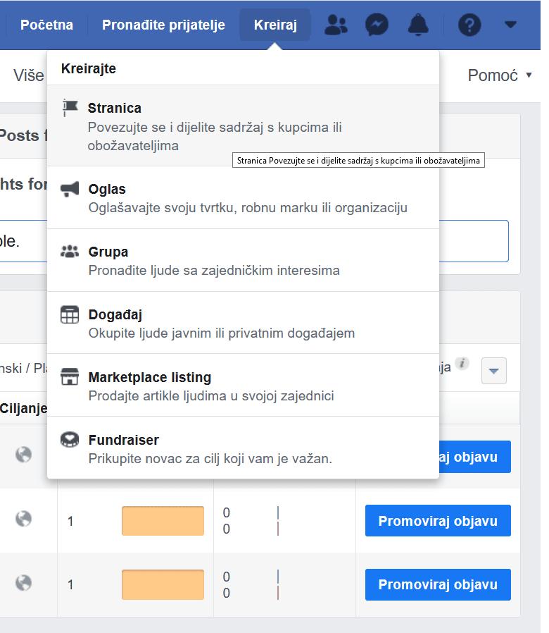 kako napraviti facebook stranicu za posao izbornik