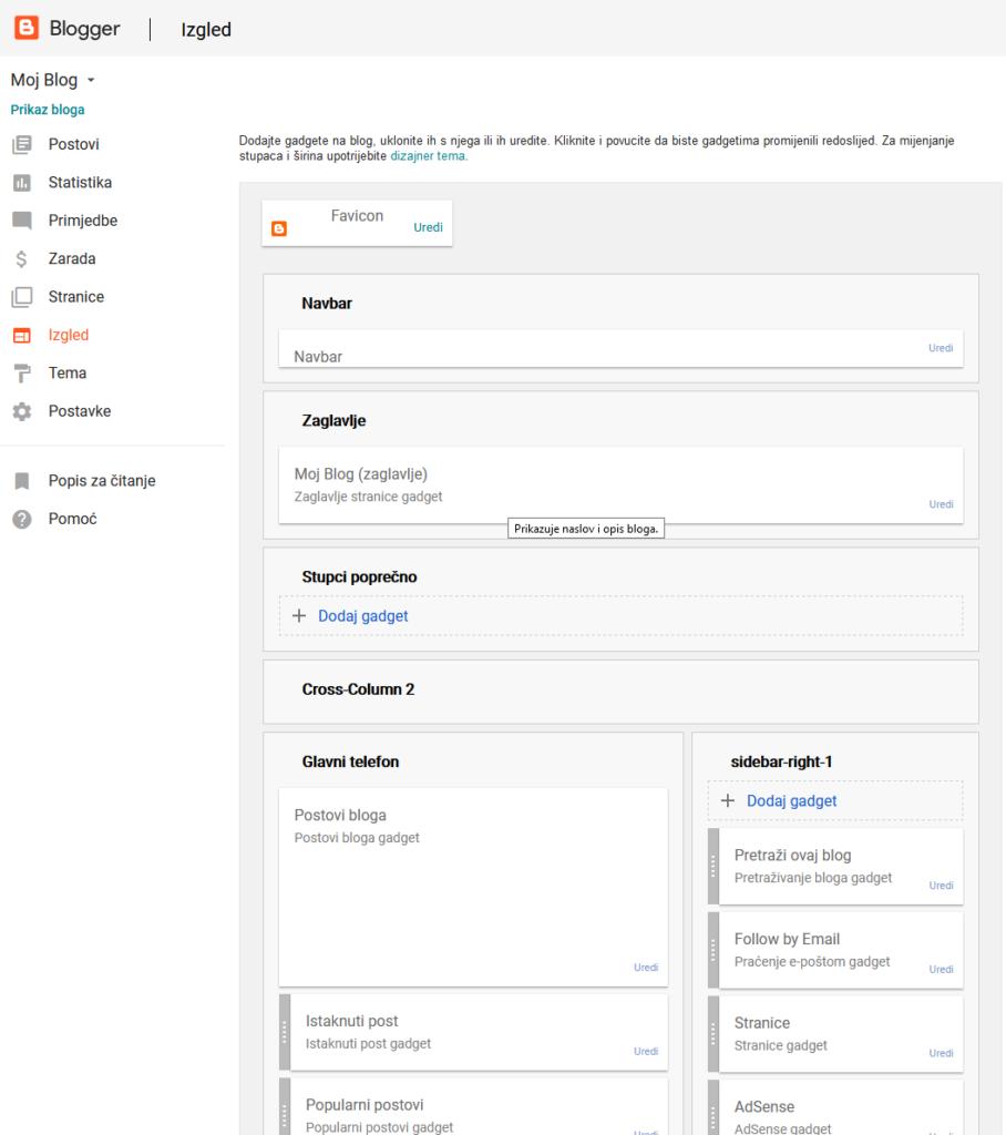uređivanje blogger bloga - izmjena izgleda i funkcija